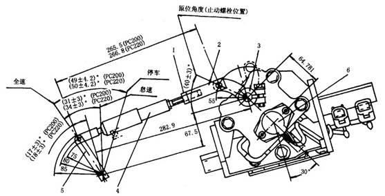 l。锁紧螺母2.叉子3.调速器执行器4.弹簧总成5.发动机调速器6.电位器 图2 - 36调速器电动机连杆 1.控制器的内部结构 (1)微型计算机:调速器电机的转角由输入信号电流的大小决定。输入信号电流经 过计算机计算处理后,驱动调速器电机。 (2)驱动电路:从微型计算机输出的脉冲信号可用来改变到调速器电机的电流方向 和电流大小,以使电动机顺时针或逆时针方向转动,同时也改变调速器电机的转角。 (3)输入电路:控制器收到从油门操纵旋钮(油门信号)、监控器(预热信号)、调速器 电机电位器(电位器信号)、启动