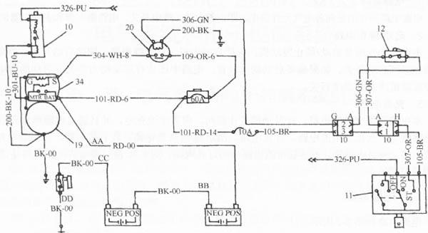 卡特320型挖掘机启动/停车电路如图所示. 液压系统操纵杆位于锁定位置,钥匙启动开关转到启动位置,空挡启动开关接通,电流通过空挡启动开关到启动继电器,启动继电器触点闭合,使电流能够流向启动电磁阀。 液压系统操纵杆位于未锁定位置,钥匙启动开关位于启动位置,空挡启动开关未接通,发动机不能启动。 启动电磁阀通电后,电流从MTR接头流向停车电磁阀,停车电磁阀产生的推力把燃油泵齿条推到油泵供油位置,启动电磁阀中的活塞移动,使启动电机的小齿轮和发动机飞轮齿圈啮合,启动发动机。发动机启动后,松开钥匙启动开