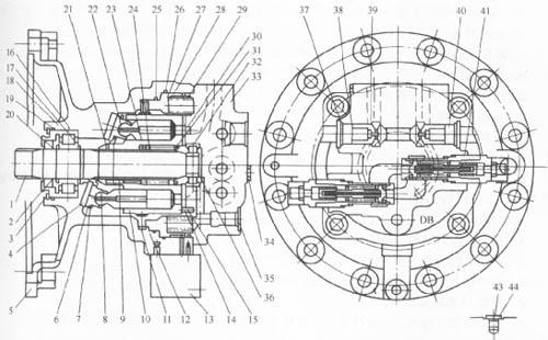 图卡特挖掘机回转马达的结构 1-轴;2-油封垫;3、21-锁紧环;4-滑履盘;5-壳体缸体弹簧;6-滑履;7-压力盘;8-球面衬套;9-推杆;10-缸体;ll-摩擦盘;12-分离盘;13-制动阀(任选);14-配流盘;15-销;16、36-限何环;17、30-垫;l8、32-滚动轴承;19、25、26、29、34、44-0形圈;20-前盖;21-垫(后);22-柱塞;23-垫(前);24-缸体弹簧;27-制动活塞;28-制动弹簧;33-阀体;35、43-VP堵塞;37、40-RO堵塞;38-弹簧;39-