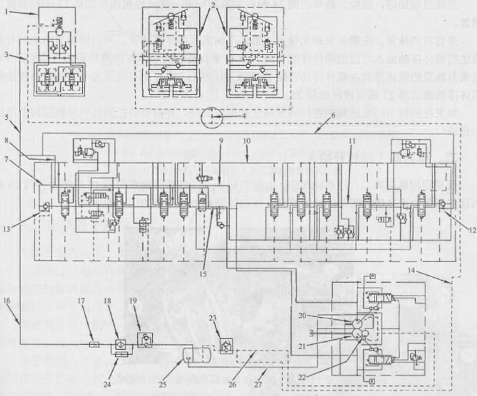 图1卡特挖掘机回油液压油路原理图 l-回转节马达;2-行驶马达;3-箱体排油管路;4-箱体排油管路;5-补给管(补充给回转节马达的补给油);6-回油管;7-回油信道;8-回油管;9-回油信道;IO-主控阀;11-中位旁通油道;12-反向流操纵量孔;13-反向流操纵量孔;l4-箱体排油管路;15-中位旁通油道;16-回油管;17-低速回程单向阀;18-液压油冷却器;19-回油滤清器;20-左侧油泵;21-右侧油泵;22-先导泵;23箱体排油滤清器;24-旁路单向阀;25-液压油箱;26-箱体排油管蹄;27